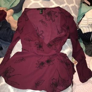 cute marron black floral top